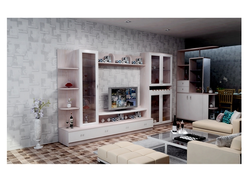 组合电视柜-黄梨木配暖白